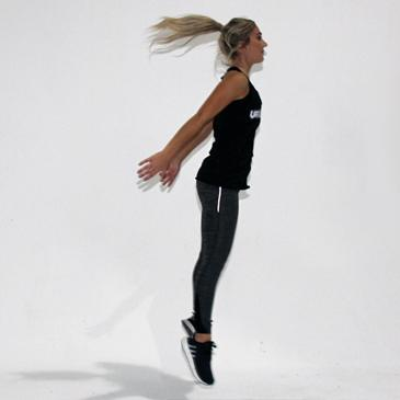 Fitness model performing a frog jump